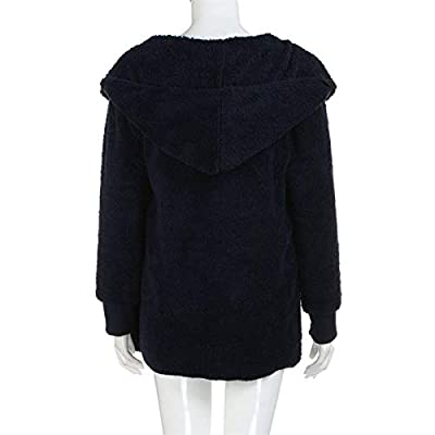Fastbot women's Cozy Pocketed Cardigan Open Front Hooded Jacket Shearling Coats Warm Sherpa Fuzzy Fleece Outwear: Clothing