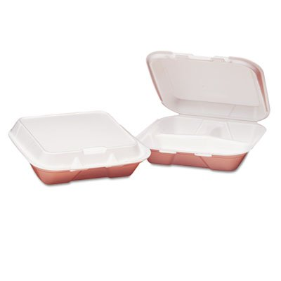 Genpak 8x7.5 3 Compartment Hinged Foam Snap It Dinner Container - 200 per case.
