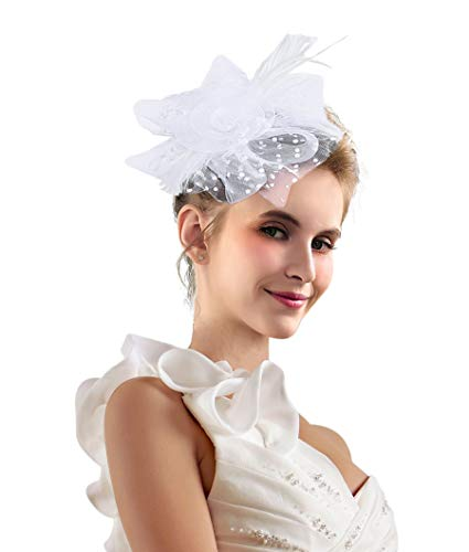 Kentucky Derby Fascinators for Women Sinamay Tea Party Hat Cocktail Headpiece Flower Mesh Feathers Headband Hat White_BC