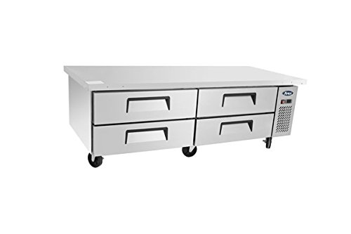 """Undercounter Refrigerator,ATOSA MGF8453 72""""Commercial Extended Top Chef Base beverage Fridge Cooler Center Large 4-Drawers stainless steel Wine Horizontal Refrigerators9.4Cu.Ft. 72.4W32D26.6H inch"""