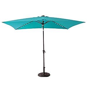 C-Hopetree Solar Power LED Light Outdoor Patio Market Umbrella 6'6 x 10' Rectangular with Crank Winder, Push Button Tilt, Aqua Blue