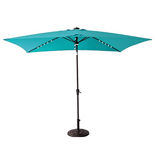 C-Hopetree Solar Power LED Light Outdoor Patio Market Umbrella 6'6 x 10′ Rectangular with Crank Winder, Push Button Tilt, Aqua Blue Review