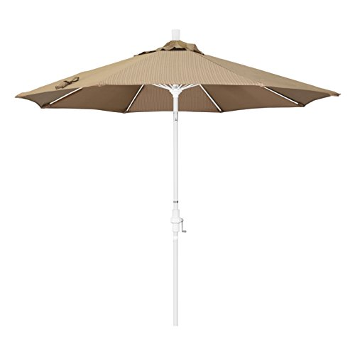 California Umbrella 9' Round Aluminum Pole Fiberglass Rib Market Umbrella, Crank Lift, Collar Tilt, White Pole, Terrace Sequoia Olefin