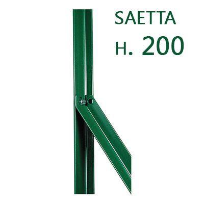 CF da 10PZ Saetta di sostegno Paletto a T per recinzioni da GIARDINO recinzione in ferro PLASTIFICATO a L mm 25x25x3 H 200 CM VERDE Cartomatica