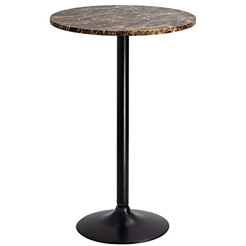 Furmax Bistro Pub Table Round Bar Height Cocktail Table Metal Base MDF Top Obsidian Table with Black Leg 23.8-Inch Top, 39.5-Inch Height(Faux Marble)