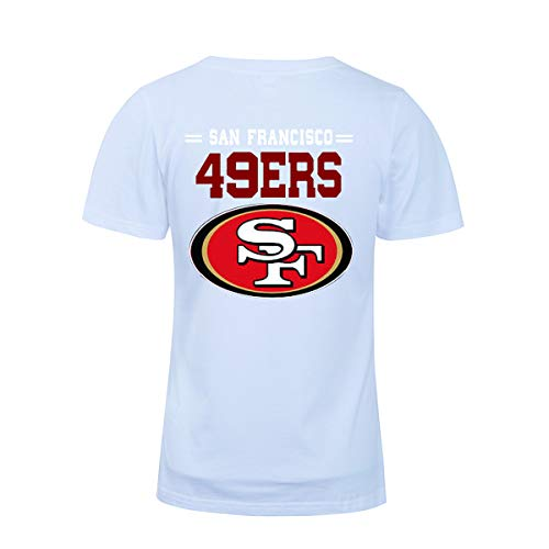 (Men's O-Neck Short Sleeve Letters Print San Francisco 49ers Solid Color Summer T-Shirts(XXL,White))