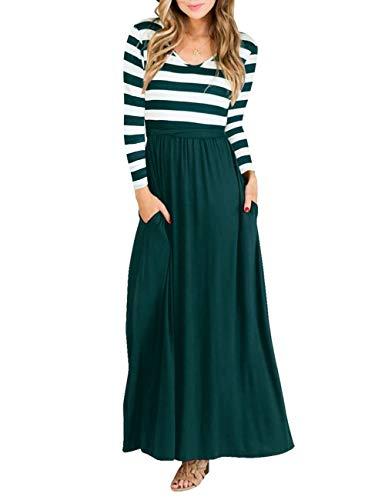 46394bc9d1f1 Zhaoyun Women s Casual Long Sleeve Dress Elegant A Line Dress with Belt -Green-S