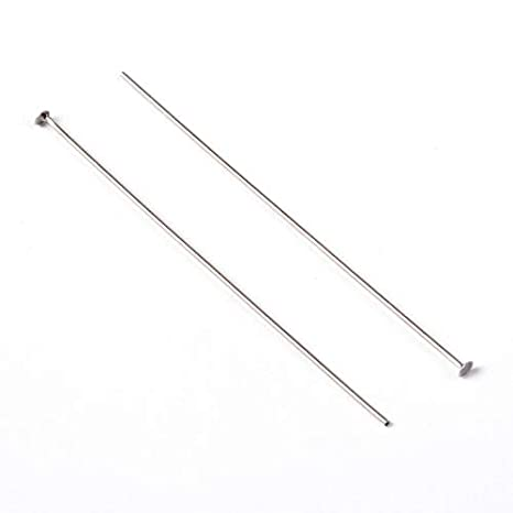 60mm 2.4 Inch LiQunSweet 230 Pcs Brass Metal Platinum Color Open Eye Head Pin Nickel Free Eyepins with Loop for Jewelry Making DIY Findings