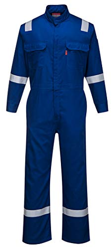 Portwest FR94 Bizflame 88/12 Iona Flame Resistant Long Sleeve Overall Fire Retardant Workwear Coverall, Royal, X Large