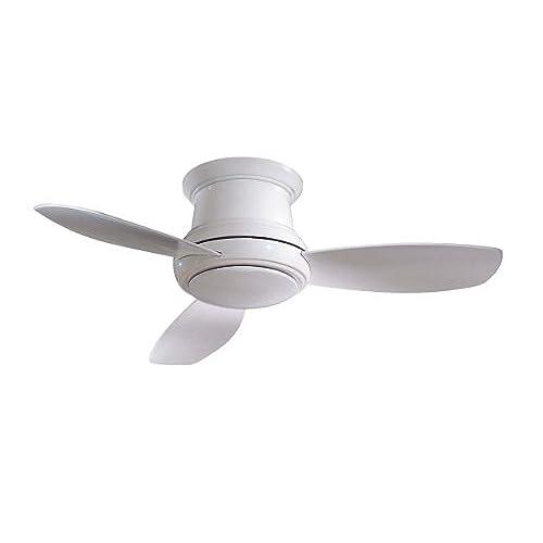 Low profile flush mount ceiling fan amazon minka aire f519 wh concept ii 52 flush mount ceiling fan with light remote control white mozeypictures Choice Image