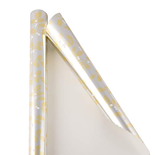 - JAM PAPER Gift Wrap - Christmas Wrapping Paper - 12 Sq Ft - Gold & Silver Holly - Roll Sold Individually