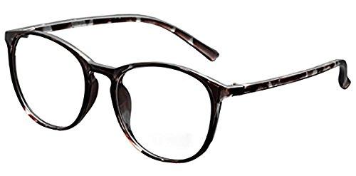 DEDING Retro Round Clear Lens Eyeglasses (gray tortoise , clear - Eyeglasses Prescription Retro