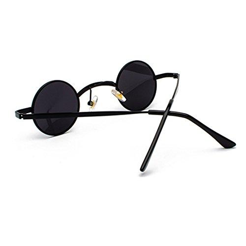 sol de pequeñas policarbonato unisex Gafas metal Gris Lente de Marco redondas Gafas Negro de Inlefen z1wCE