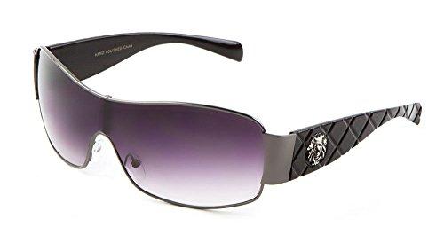 Kleo Lion Head Medallion Sport Wrap One Piece Sunglasses (Black & Gunmetal, - Sunglasses Head Medusa