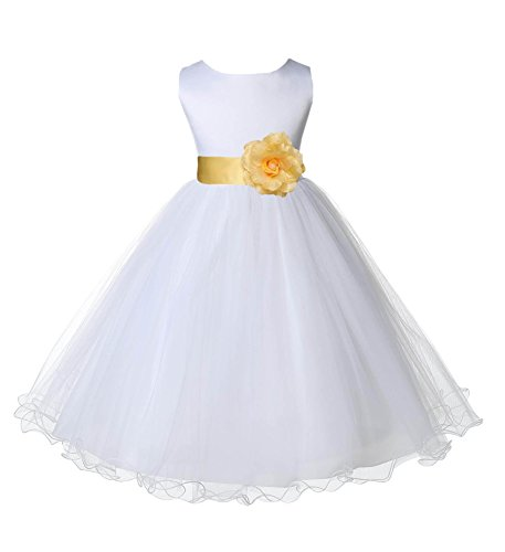 Wedding Pageant White Flower Girl Rattail Edge Tulle Dress 829s 12 by ekidsbridal