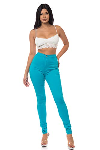 (Aphrodite High Waisted Jeans for Women - High Rise Waist Skinny Womens Jeans with Round Back Pockets 1166 (Made in USA) Turquoise 15)