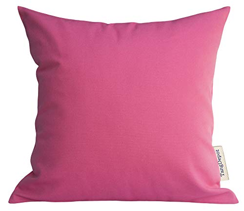 """TangDepot Handmade Decorative Solid 100% Cotton Canvas Throw Pillow Covers/Pillow Shams, (18""""x18"""", Hot Pink)"""