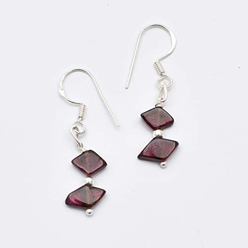 Natural Dainty Pink Garnet Beads Chandelier Earrings with 925 Sterling Silver Findings 1