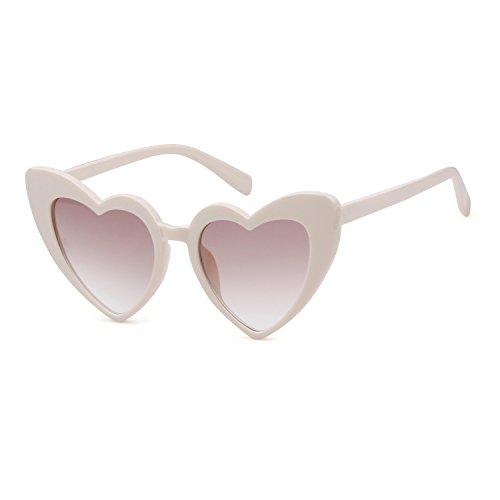 ADEWU forma de de corazón 1 Gafas Gafas Chicas Beige de retro sol moda mujer en para rWwISrcAq