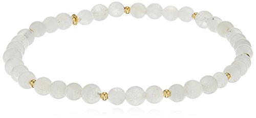 Genuine Moonstone with 18k Yellow Gold Plated Bronze Accents Beaded Stretch Bracelet, 6.5""