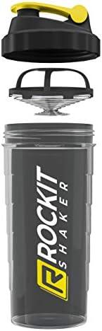 RockitShaker 1000ml Proteneshakergegarandeerd lekvrijBPAvrijgepatenteerd mengsysteemvoor je fitness eiwitshake en proteneshake 1 liter zwartgeel