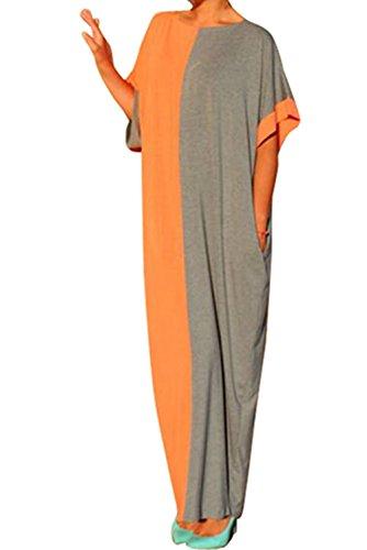 Orange Block Long Dress - 9