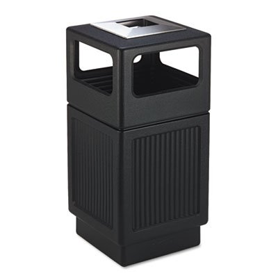 Safco® - Canmeleon Ash/Trash Receptacle, Square, Polyethylene, 38 gal, Textured Black - Sold As 1 Each - Adds beauty and serviceability to