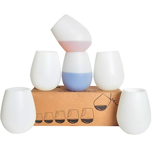 KindGa Silicone Wine Glasses Set of 6 Unbreakable Stemless Outdoor Rubber White Wine Cups,100% Silicone Dishwasher Safety - Foldable Shatterproof Party Cups for Travel Camping Pool Picnic/ 12 ()