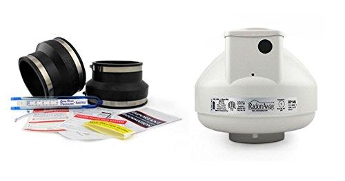 - RadonAway RP145 Fan + Install Kit (Rubber couplings, dynameter and labels) (3x4, Black)
