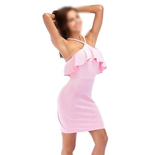 (Kaured Unique Summer Tube top Ruffled Strap Ladies Mini Dress,Medium,Pink)