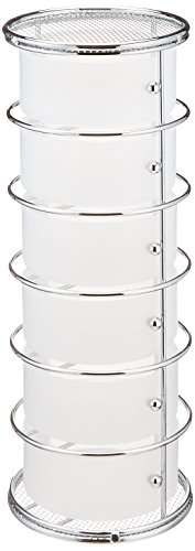 Taymor Chrome Six Drawer Storage Tower with Frosted Acrylic Drawers