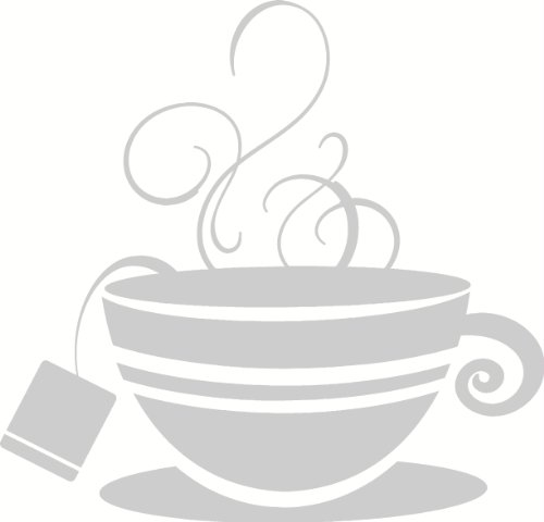 (Wall Décor Plus More WDPM2111 Striped Teacup with Steam Kitchen Wall Art Vinyl Sticker Decal, 12x11.5-Inch, Warm Gray)