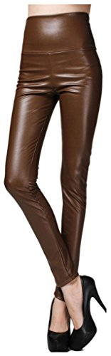 Sosite Women Thick High Waist Faux Leather Leggings Skinny Pencil Party Pants-Coffee (Brown Leather Pants)