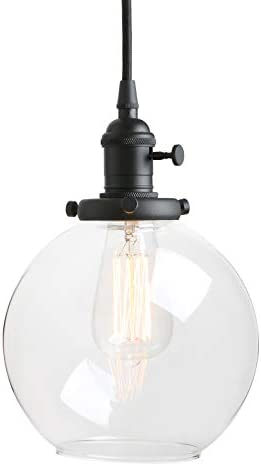 Pathson Black Pendant Light with Globe Round Glass Shade, Metal Base Cap and Adjustable Textile Cord, Industrial Style Retro Hanging Lamps for Dining Room Kitchen Island