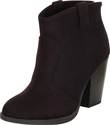 Cambridge Select Women's Country Western Stacked Chunky Heel Ankle Bootie,7.5 B(M) US,Black IMSU -