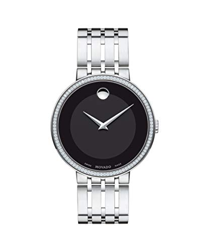 Movado Esperanza, Stainless Steel and Diamond Case, Black Dial, Stainless Steel Bracelet, Men, 0607238 ()