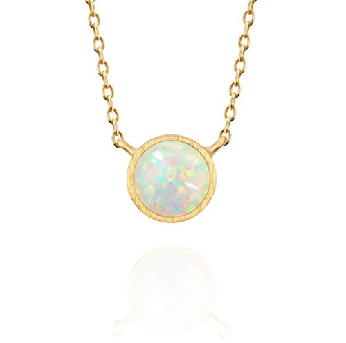 - MUSTHAVE 14K Rose Gold Plated Opal Necklace, Round Bezel & Anchor Chain, White/Green/Pink Opal Necklace, Size 16 inch + 2 inch Extender (Yellow Gold)
