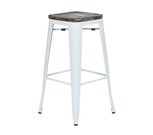 Оfficе Stаr Deluxe Premium Collection 30-Inch White Metal Frame Barstool with Vintage Wood Seat Ash Crazy Horse 4-Pack Decor Comfy Living Furniture