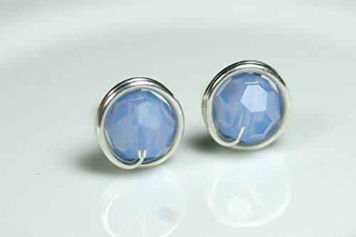 Blue Stud Earrings with Air Blue Opal Swarovski Crystals Wire Wrapped Sterling Silver or Gold Filled