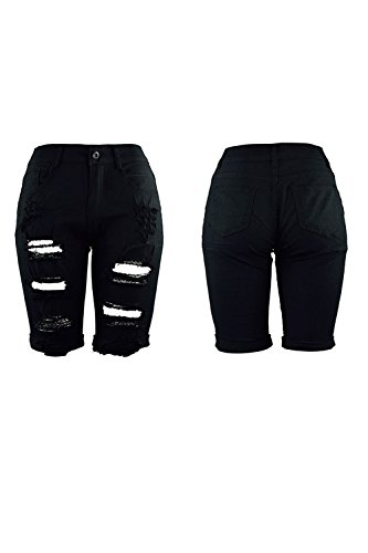 Negro Hoyo Pantalones Pantalones Distressed Ripped La De De Longitud Jeans Mujer Rodilla La Casual HFOCqAxw