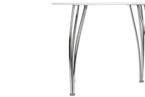 Novogratz Round Dining Table with Chrome Plated Legs, White by Novogratz (Image #2)