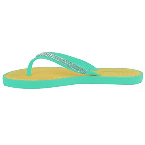 Moda Donna Assetata Diamante Infradito Sandali Jelly Sandalo Estate Scarpe Da Spiaggia Taglia Verde Menta