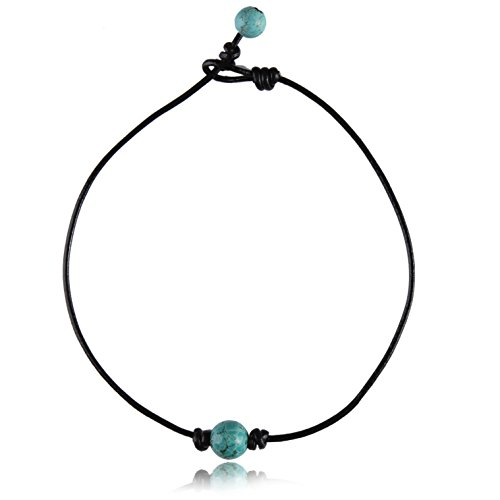 Single Stone Round Turquoise Choker Necklace on Black Genuine Leather Cord - 12mm Pearl Necklace