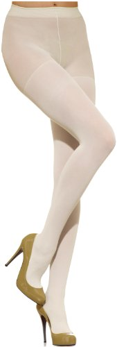 Off White Tights - Silkies Women's Control Top Microfiber Tights -Large Cream