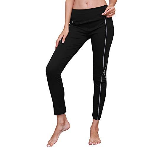 iLUGU Womens Reflective Yoga Seamless Leggings Pants Sports Yoga Gym Skinny Work Out Fitness Trousers Black