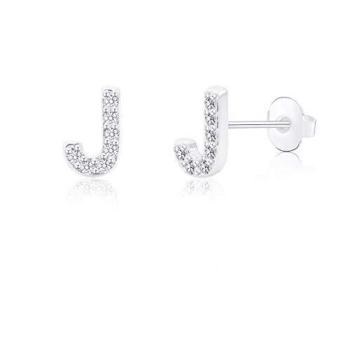 J Initial Letter Earrings for Little Girls Kids Baby Women Hypoallergenic for Sensitive Ears Nickel Free Tiny Alphabet Silver Stud Earrings Stainless Steel Monogram Jewelry Gift