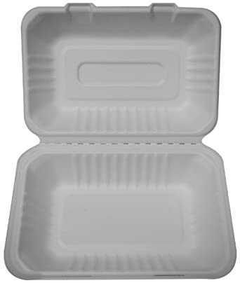"""PrimeWare HL-96 White Molded Fiber Hinged Lid Container, 9"""" Length x 6"""" Width x 3-3/16"""" Height, Hoagie/Single-Section (Case of 250)"""
