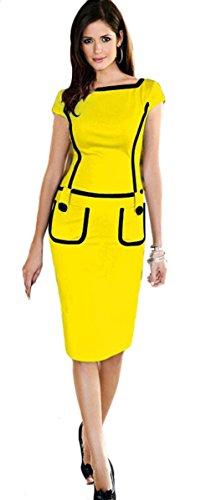 Genluna New Fashion Bodycon Pencil Business Work Button Midi Tank Dress