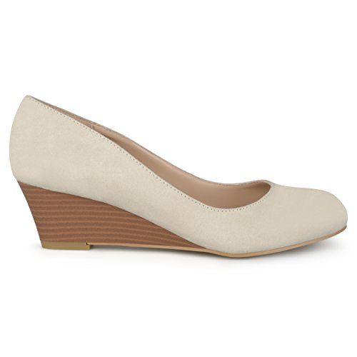 Brinley Co Womens Stacked Wood Heel Classic Faux Suede Wedges Nude LjkBFJ