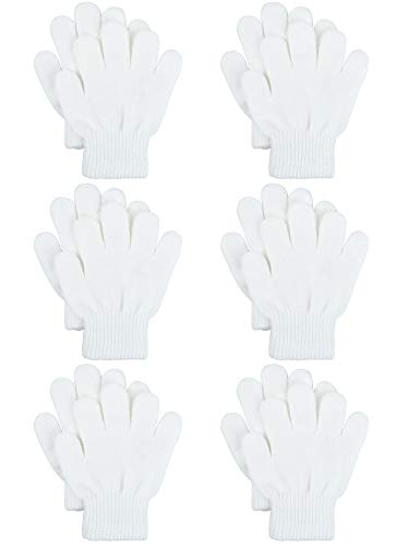 Childrens Gloves Magic (Coobey 6 Pairs Kids Knitted Magic Gloves Teens Warm Winter Stretchy Full Fingers Gloves (White, 6-12 Years))